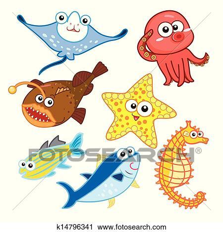 Clipart - caricatura, animales de mar, conjunto, con, fondo blanco ...