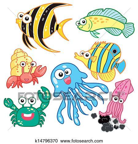 剪贴画 - 卡通漫画, 海动物
