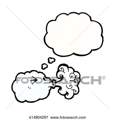 Clip Art of cartoon cloud blowing wind k14804297 - Search Clipart ...