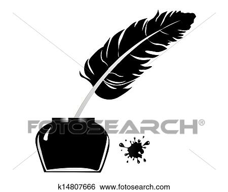 clip art of inkwell pen k14807666 search clipart