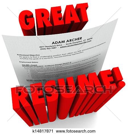 clipart of great resume 3d red words successful application