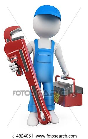 Clipart of 3d white people plumber k14824051 search 3d tool free