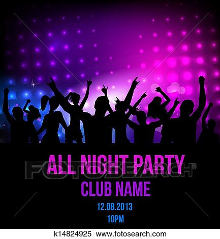 Clipart of Disco party poster background k14824925 - Search Clip ...