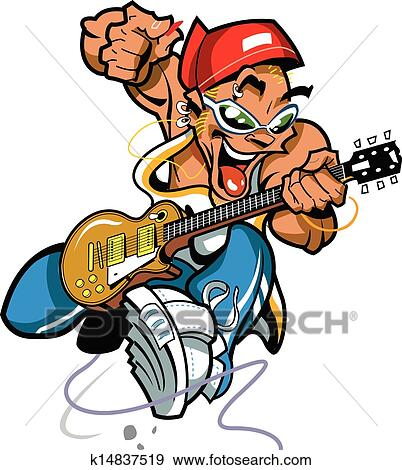 Clip Art of Wild Rock Guitar Player k14837519 - Search ...