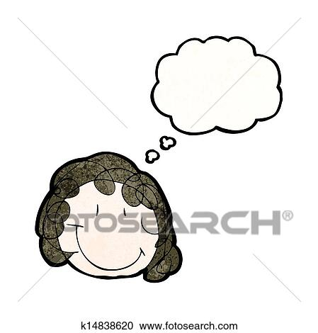 Clipart of child's drawing of a happy female face with thought ...