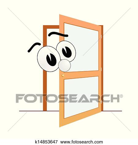 Clip art big eye and open door art vector fotosearch search
