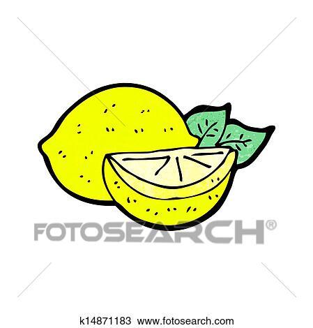 柠檬片手绘图_手绘图卡通漫画切割柠檬k14871183抽象