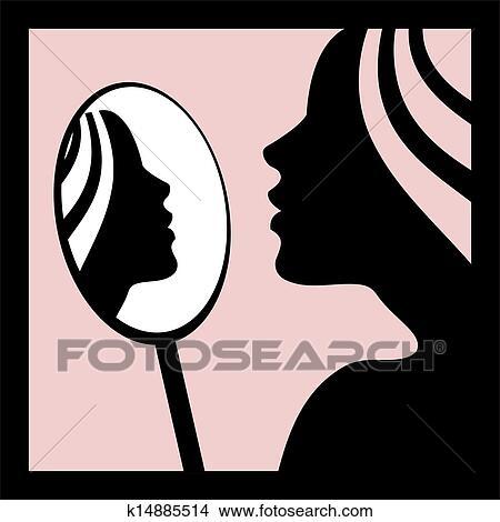 Dessins femme regarde dans les miroir k14885514 for Se voir dans un miroir