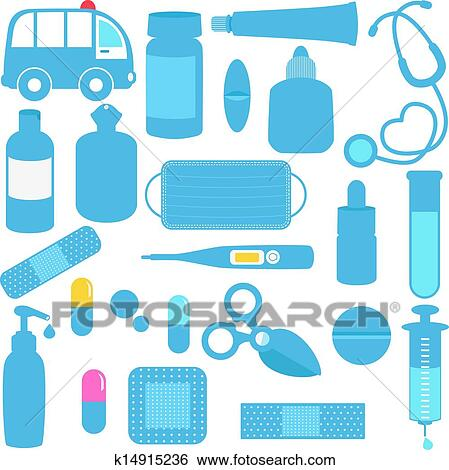 Clipart of Medicines, Pills, Medical Equipment k14922842 - Search ...
