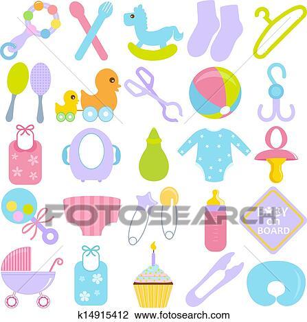 clipart accessoires pour maman b b k14915412 recherchez des clip arts des illustrations. Black Bedroom Furniture Sets. Home Design Ideas