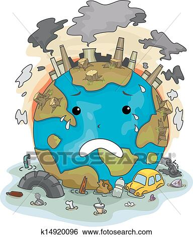 Clip Art of Crying Earth Due to Pollution k14920096 ...