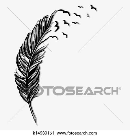 Clipart of Birds flying ot of a quill k14939151 - Search Clip Art ...
