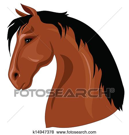 Clip Art of Head of brown horse k14947378 - Search Clipart ...