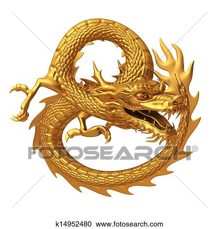Chinese Golden Dragon Drawing of Golden Chinese Dragon
