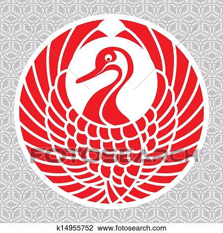 Clipart of japanese crane symbol k14955752 - Search Clip ... - photo#32