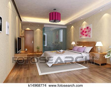 手绘图 - 床, 房间