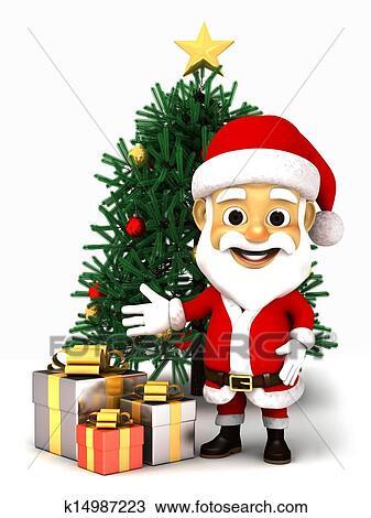 手绘图 - 3d, 圣诞老人