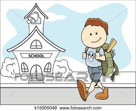 Clip Art - niño, ir al colegio, -, niños, vector k15005048 ...