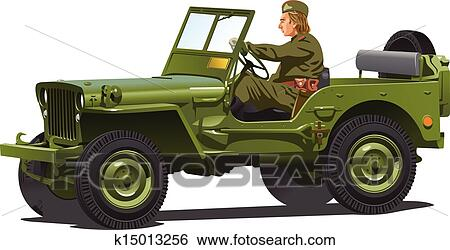 Clip Art of World war two army jeep. k15013256 - Search Clipart ...