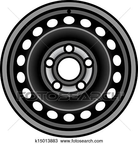 Clipart of vector black car iron wheel rim k15013883 - Search Clip ...