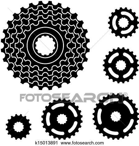 Bicycle Sprocket Vector Clip Art