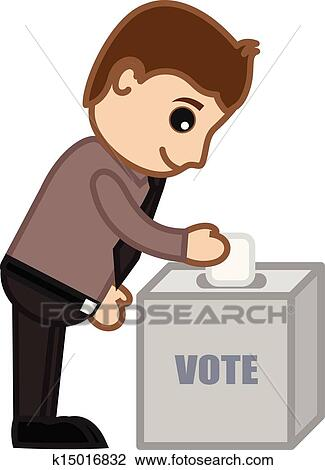 Clipart Of Young Man Voting K15016832 Search Clip Art