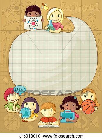 Clipart scuola cornice con bambini k15018010 cerca for Scuola clipart