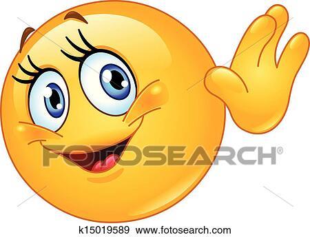 Waving Animated Emoticon Female Emoticon Waving Hello