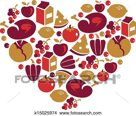 Clipart of Vegetables in the shape of heart. k8999251 - Search ...