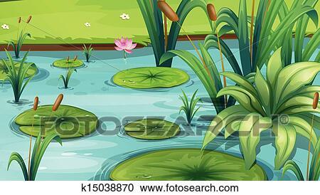 Clipart uno stagno con molti piante k15038870 for Piante da stagno