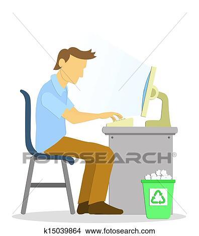 Dibujos - oficina, hombre, a, trabajando, con, computadora ...