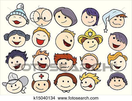 Clipart - unterschiedliche, glücklich, und, lächeln ...