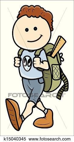 Clipart - niño, ir al colegio k15040345 - Buscar Clip Art ...