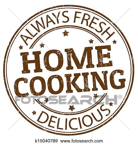 Clip art of home cooking stamp k15040789 search clipart illustration posters drawings and - Home cooking ...