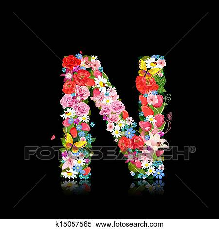 Clipart of Romantic letter of beautiful flowers N ...