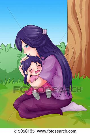 母亲和孩子感人简笔画内容|母亲和孩子感人简笔画 ...