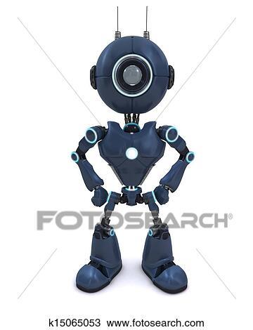 手绘图 机器人, 站, 卫兵