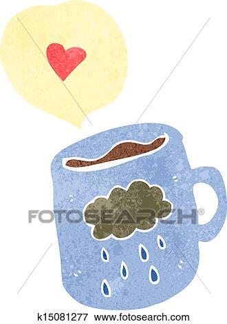 Clip Art of I love coffee retro cartoon k15081277 - Search Clipart ...