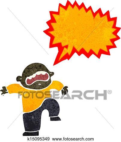 Clip Art of retro cartoon boy having temper tantrum k15095349 ...