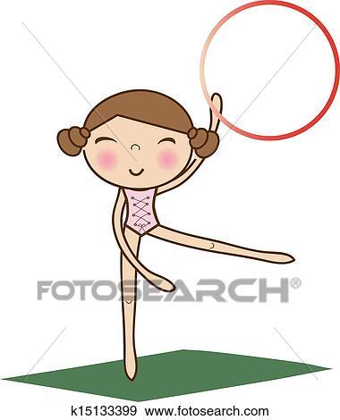 Clipart jolie petite fille faire gymnastique sur blanc k15133399 recherchez des cliparts - Jolie dessin a faire ...