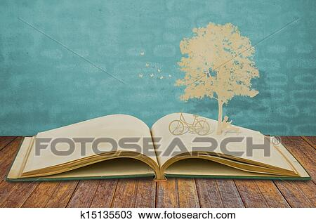 Stock Photo of Paper cut of children read a book under tree on old