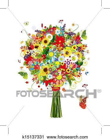 クリップアート(切り張り)イラスト「絵画」集 - 4つの季節, 花束, ... 4つの季節, 花