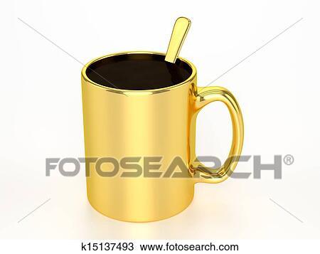 手绘图 - 3d, 金色, 杯子