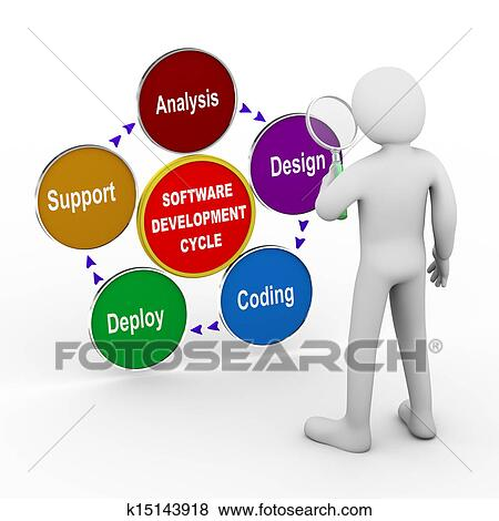 Stock Illustration Of 3d Man Software Development Analysis