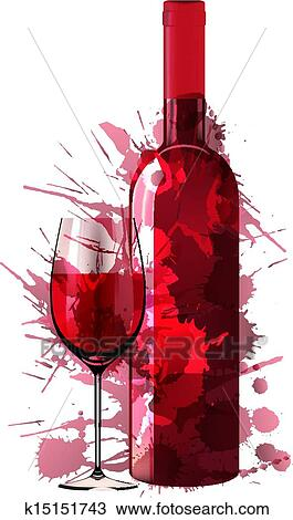 clipart bouteille et verre vin fait de color eclabousse k15151743 recherchez des clip. Black Bedroom Furniture Sets. Home Design Ideas