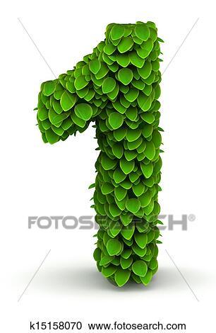 失量图库 - 第1数字, 绿色的树叶, 字体图片