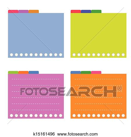 Clip Art of Four Colorful Lined Spiral Notepad Papers with Tabs – Four Ruled Paper