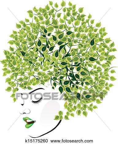 剪贴画 - 树叶茂盛, 发型图片