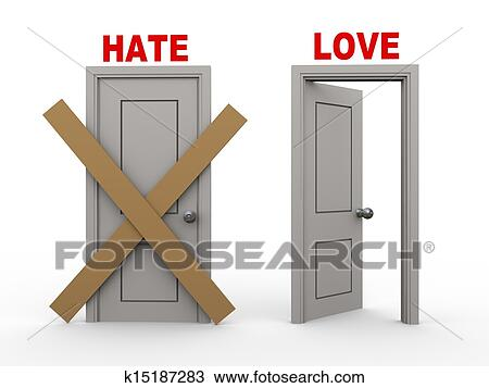 Drawing Of 3d Hate And Love Doors K15187283 Search