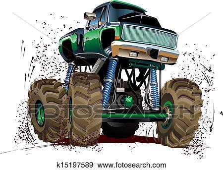 Clip Art of Cartoon Monster Truck k15197589 - Search ...